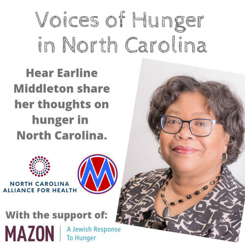 """Voices of hunger in North Carolina Cover """"Hear Earline Middleton share her thoughts on hunger in North Carolina"""""""