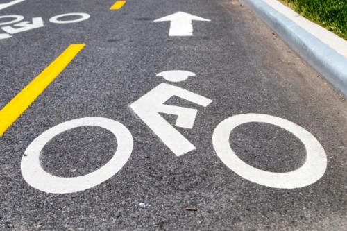 Bike lane on street with arrow