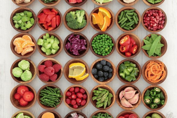 bowls of food in lines