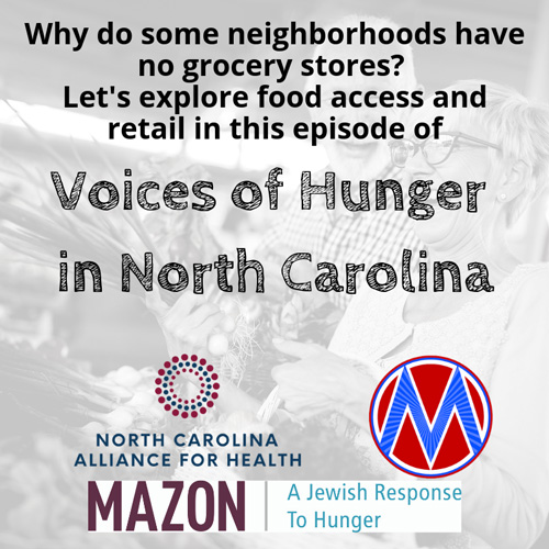 """Voices of hunger in North Carolina Cover """"Why do some neighborhoods have no grocery stores? Let's explore food access and retail in this episode"""""""